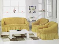 Чехол на диван и 2 кресла универсальный,  горчичный