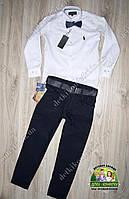 Нарядный комплект для мальчика: белая рубашка Polo и темно-синие брюки