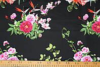 Коттон принт букеты роза(черный)
