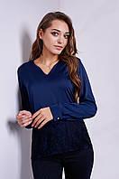 Нарядная женская блуза из шёлка с гипюром S, M, L