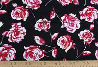 Коттон принт  роза  ( черный)