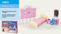 """Мебель для куклы """"Gloria"""" 24014 спальня и гардероб (кроватка, тумбочка, стульчик, шкаф, трюмо с зеркалом) Royaltoys"""
