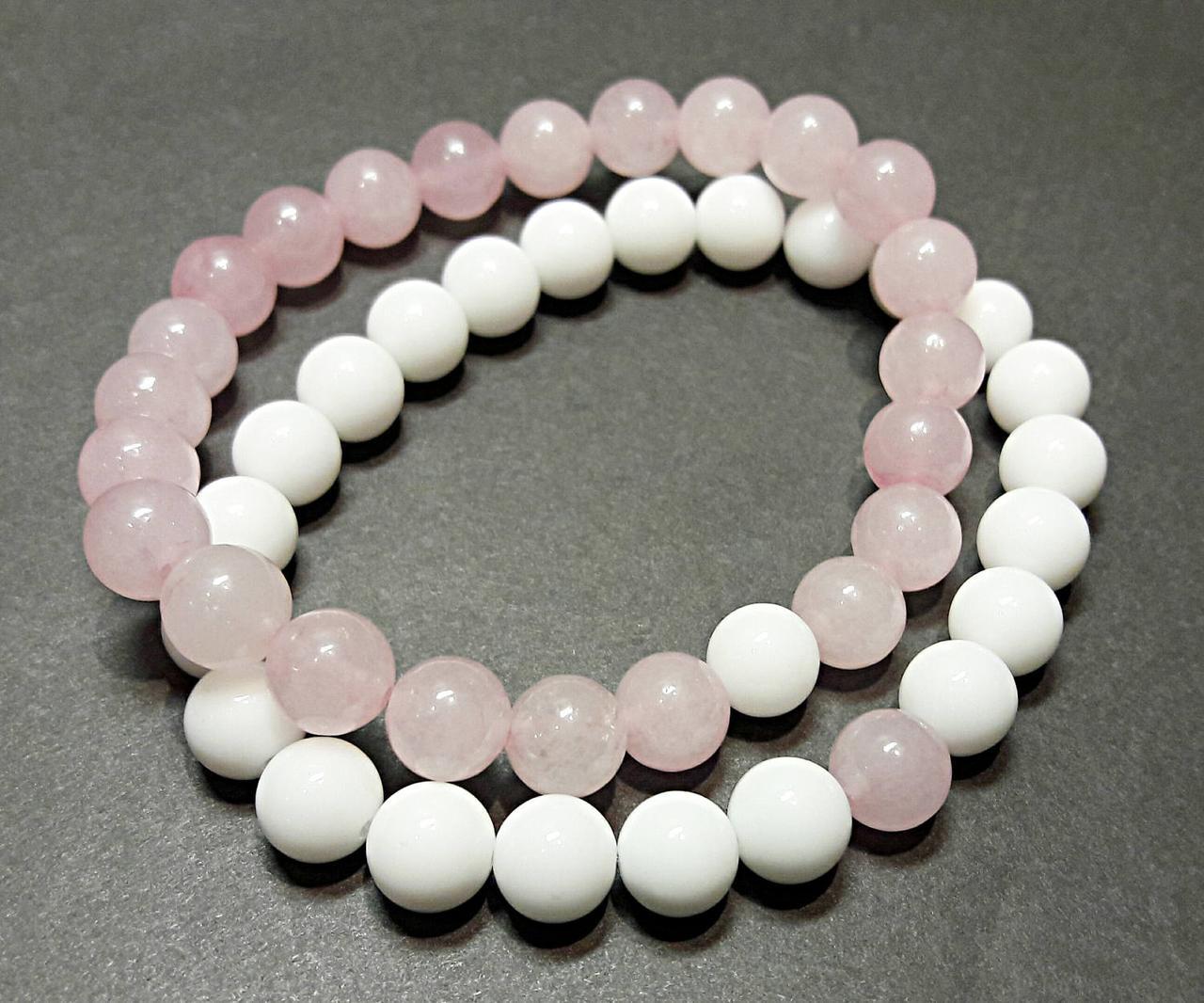 Браслеты для влюбленных из натурального камня розовый кварц и белый агат