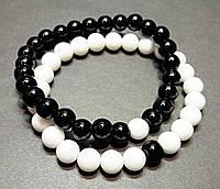 Браслеты для влюбленных из натурального камня черный и белый агат