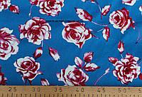Коттон принт розы(фон голубой )