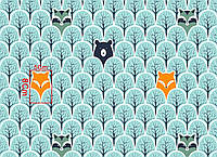 """Польская хлопковая ткань """"мишки, еноты, лисички в мятном лесу"""""""