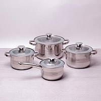 Набор посуды 8 шт. (ковш с крышкой 2.1л,кастрюли с крышкой 2.9л, 3.9л, 6.5л) полые ручки из нержавеющей стали