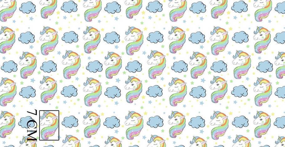 """Польская хлопковая ткань """"радужные единороги мятно-голубые"""" , фото 2"""