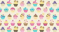 """Польская хлопковая ткань """"разноцветные кексы на бежевом фоне"""""""