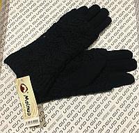 Перчатки женские хлопковые, утеплённые с вязаным отворотом