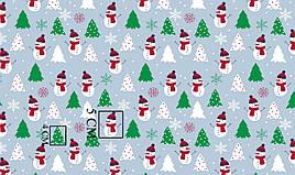 """Польская хлопковая ткань """"снеговики с зелёной ёлкей на серо-голубом фоне"""""""