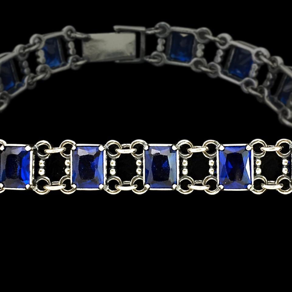 Cеребряный женский браслет, 195мм, с синими фианитами