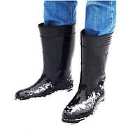 Сапоги силиконовые мужские с утеплителем смола черные