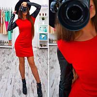 Красное платье с кожаными рукавами  ( 024)