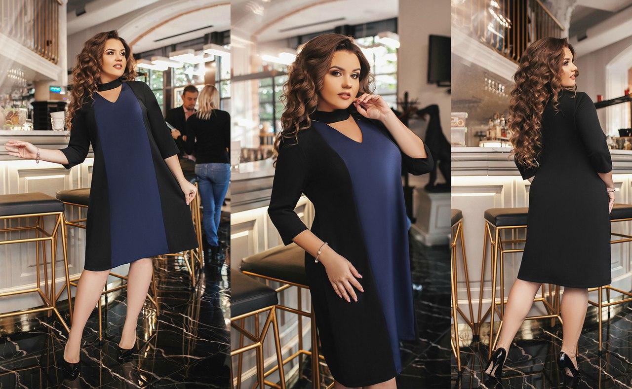 Платье креп сафари+костюмка батал Мод 283 (AMBR)  - Секрет  женская одежда оптом в Одессе
