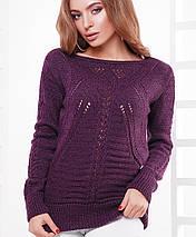 Женский вязаный однотонный свитер лодочкой (21 mrs), фото 3