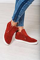 Стильные зимние замшевые ботинки кирпичного цвета.