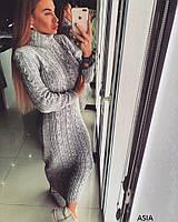 Вязаное женское платье под горло АЗИЯ  Дор