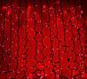 Красная Гирлянда 360 led Штора 2.2х1,5 м - на черном проводе, красная, занавес лед