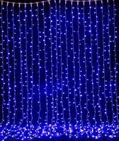 Штора неоновая, Занавес 720 led, 3,0Х1,5м, уличная прозрачный провод Световый дождь ПЛЕЙ-ЛАЙТ (PLAYLIGHT) лед