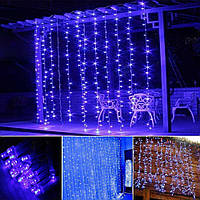 Штора 2х2м 320 led, цвет синий - декоративная гирлянда на Новый год лед