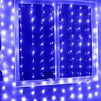 Штора 3х3м 640 led, цвет синий - декоративная гирлянда на Новый год лед