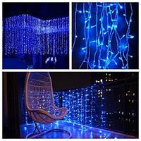 Штора 2х4м 800 led, цвет синий - декоративная гирлянда на Новый год лед