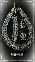 Ожерелье с браслетом и сережки  голубое- перламутровое