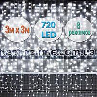 Светодиодная гирлянда Водопад 3х3 м. 720 LED. Штора Световой занавес Дождь Белый лед