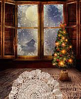 Фотофон виниловый, новогодний елка салфетка  45 см на 55 см