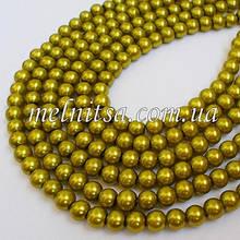 Бусины под жемчуг керамические, 8 мм, цвет оливковый,10 шт