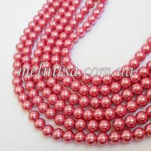 Бусины под жемчуг керамические, 8 мм, цвет т.розовый,10 шт