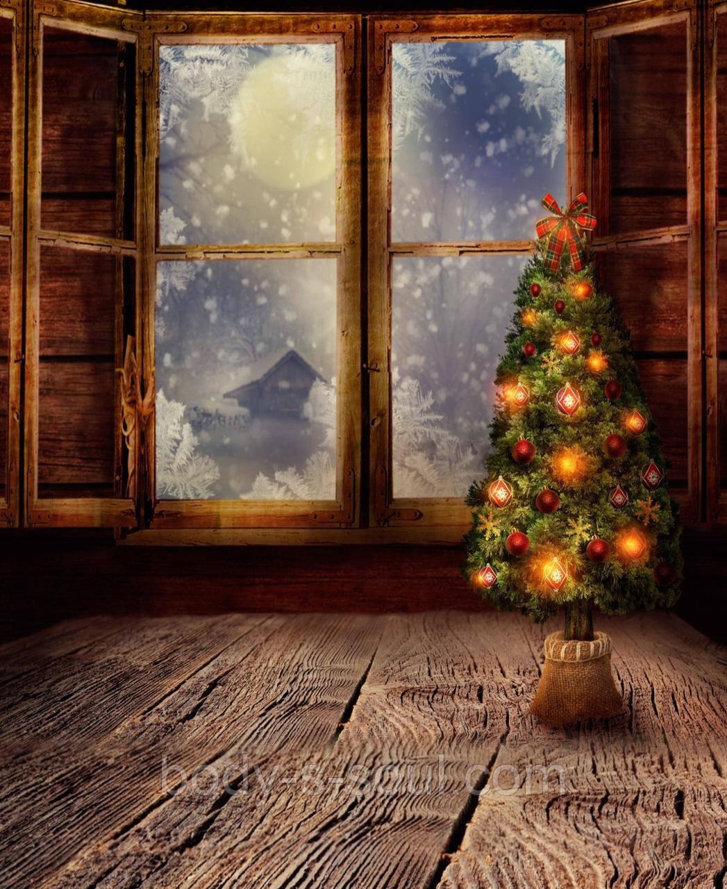 Фотофон виниловый, елка и окно 45 см на 55 см