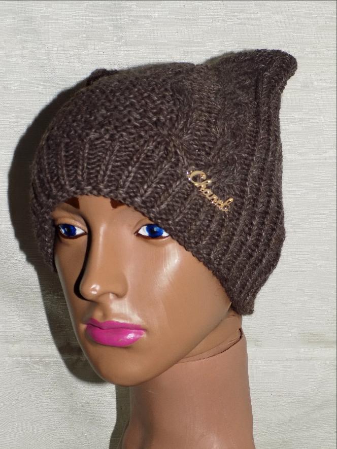 Зимняя шапка для девочки с ушками Коричневая,молочная