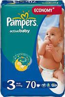 Подгузники Pampers Active Baby (4-9 кг), 70 шт эконом+