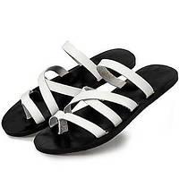 Для мужчин обувь Кожа Весна Лето Осень Удобная обувь Тапочки и Шлепанцы Для плавания Назначение Повседневные Белый Черный Темно-русый 05565117