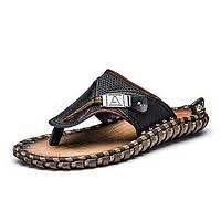 Черный Коричневый-Для мужчин-Для прогулок-Полиуретан-На плоской подошве-Удобная обувь-Тапочки и Шлепанцы 05794445