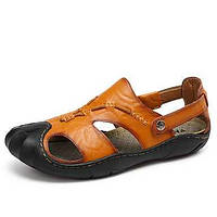 Для мужчин Сандалии Формальная обувь Натуральная кожа Лето Осень Повседневные Для прогулок Комбинация материалов На низком каблукеЖелтый 06052975