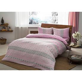 Постельное белье Tac Flanel - Betsy розовый евро