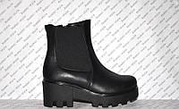 Ботиночки осень-весна на толстом каблуке и тракторной подошве молния и резинка натуральная кожа черные код1192