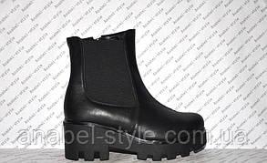 Ботиночки осень-весна на толстом каблуке и тракторной подошве молния и резинка натуральная кожа черные код1192, фото 2