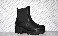 Ботиночки осень-весна на толстом каблуке и тракторной подошве молния и резинка кожаные черные код 1193