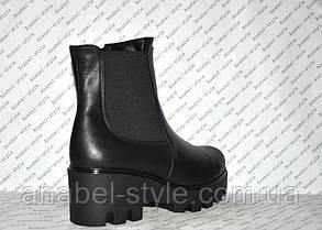 Ботиночки осень-весна на толстом каблуке и тракторной подошве молния и резинка натуральная кожа черные код1192, фото 3