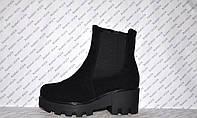 Ботиночки осень-весна на толстом каблуке и тракторной подошве молния и резинка замшевые черные код 1197