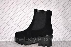 Ботиночки осень-весна на толстом каблуке и тракторной подошве молния и резинка замшевые черные код 1197, фото 3
