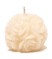 """Свеча новогодняя шар белый """"Розы"""" с блестками 250 грамм"""