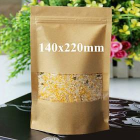 Крафт-бумажные мешки упаковка встать с застежкой-молнией для хранения продуктов питания 140 х 220 мм