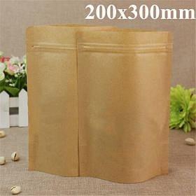 Крафт- бумажные мешки алюминиевой фольги упаковки встать с застежкой-молнией для хранения продуктов 200x300mm