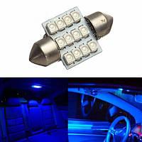 12v 12smd гирлянда 12 LED купол карту лампочка синий автомобиль интерьер перчаточный ящик