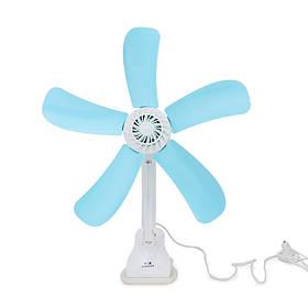 220В 8w портативный голубой бесшумный электрический 5 оставляет клип вентилятор кулера Breezer